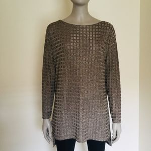 Zara gold tan windowpane check long sleeve tunic